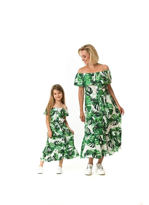 Familylook Kayık Yaka Volanlı Uzun Elbise Yeşil